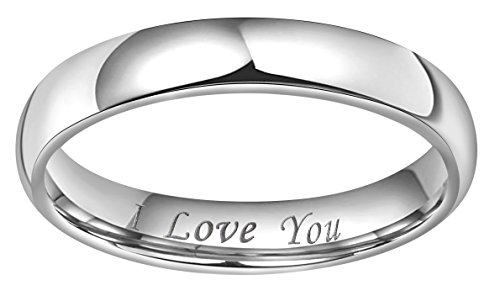 CROWNAL 4mm 6mm 8mm Tungsten Wedding Band Ring Couple Men Women Plain Dome Polished Engraved I Love You Comfort Fit Size 3 To 17 (4mm,11) by CROWNAL (Image #1)