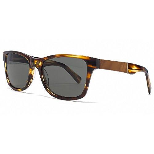 Shwood Fifty/Fifty Canby Sunglasses - Tortoise Shell/Mahogany Burl Frame with Grey Polarized - Womens Mahogany Sunglasses