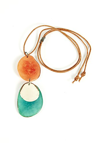 Colors of Joy Haiku Tagua Nut Pendant in Orange and Teal ()