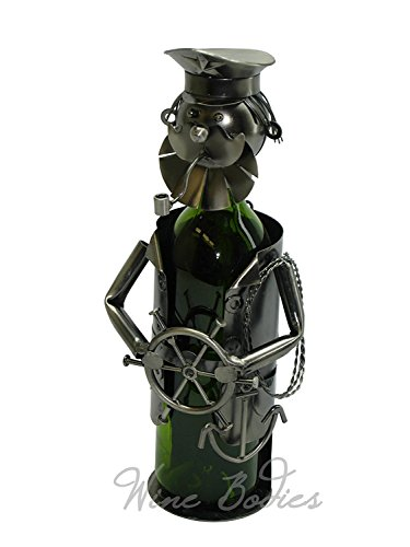 WINE BODIES ZB815 Sailor Bearded Captain Metal Wine Bottle Holder, Charcoal ()