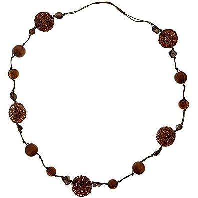 En Perlé Bois Marron Couleur Perles Collier Avec Chaîne W9e2bEDHIY