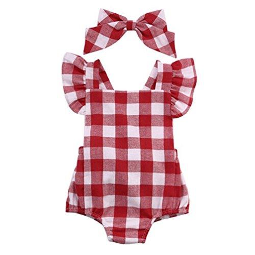 DL MYAN Newborn Infant Baby Girl Clothes Plaids Bodysuit Romper Jumpsuit One-pieces Outfits Set (90/12-18Month)