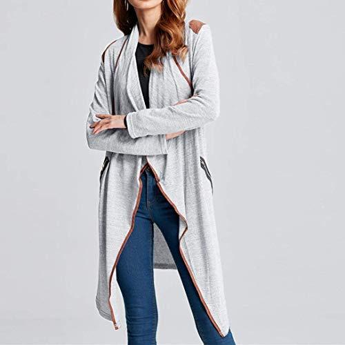 Confortevole Outwear Giacca Con Outerwear Tasche Autunno Colore A Lunga Grau Giovane Maglia Cappotto Donna Contrasto Laterali Manica Cerniera Bavero Moda Di pStYwSqd
