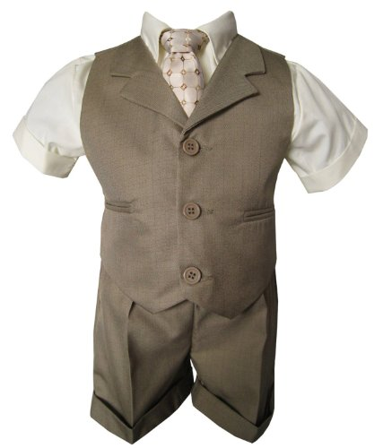 G240 Baby Toddler Boy Summer Suit Vest Short Set (2T, Natural) by Gino Giovanni