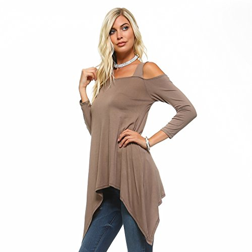 Isaac Liev Flowy Double Wide Strap Cutout Cold Shoulder Tunic Top (Small, Mocha)