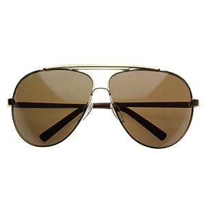 zeroUV - 70's Big Frame Oversized Aviator Sunglasses for Men and Women 70mm (Gold/Brown)