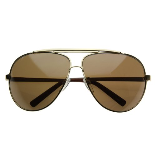 zeroUV Full Frame Big X-Large Oversized Metal Aviator Sunglasses (Gold - Extra Aviator Sunglasses Men For Large