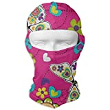 HU MOVR Balaclava Bright Floral Print Butterfly Full Face Masks Ski Motorcycle Neck Hood Cycling