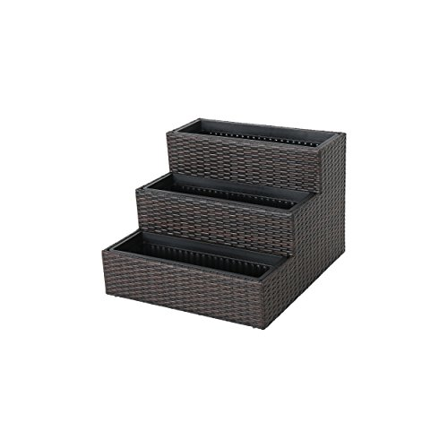 Hugo Three-Tiered Wicker Planter, Multi Brown ()