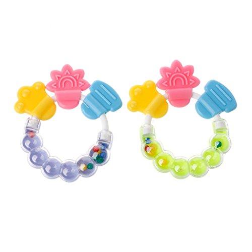 Forgun Baby Kid Toddler Teether Molar Rod Chew Toy Silicone Handbell Jingle Design