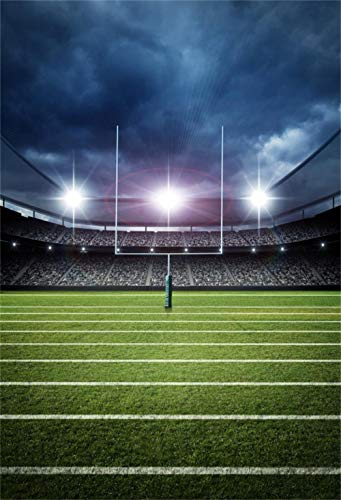 Football Field Background (Leowefowa 3X5FT Football Field Backdrop Stage Ligths Green Grass Lawn Blue Sky White Cloud Sports Match Vinyl Photography Background Baby Kids Boys Outdoor Game Happy Birthday Photo Studio)