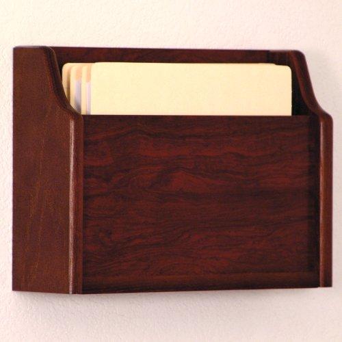 DMD Deep Pocket Letter Size Wood Chart or File Holder, Square Bottom, Single Pocket, Wall or Desktop, Oak with Mahogany Finish