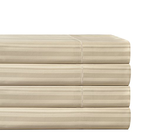 picture of Pointehaven 510 Thread Count Pima Cotton Sheet Set, King, Stripe, Oyster