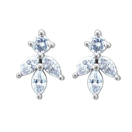 14k White Gold Marquise Clovers Drop Diamond Earrings (1/3 Carat)