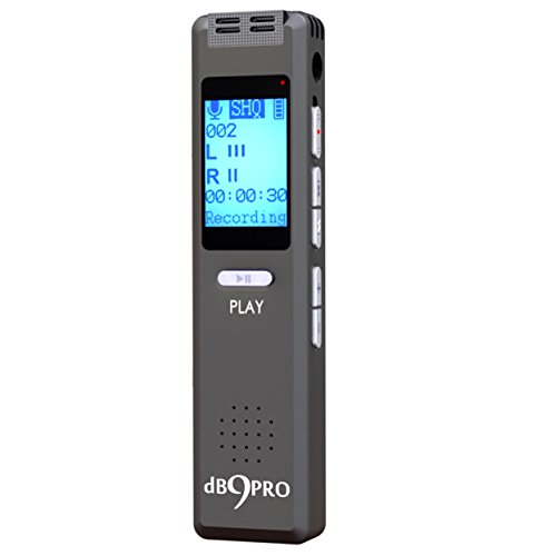 Best Voice Activated Recorder Device - for Clear Audio Recording in Meetings & Lectures, Portable Digital Dictaphone Mini mp3 Player, Ultra Sensitive Microphone, Earphones, USB Cable, by dB9PRO (Voice Recorder Speech To Text)