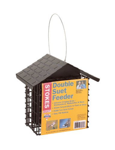Suet Bird Feeder - Stokes Select Double Suet Bird Feeder with Metal Roof, Two Suet Capacity