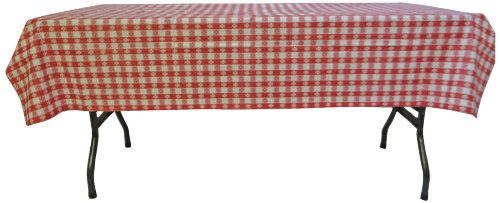 Phoenix Cafe Check Vinyl Tablecloth, 52-Inch by 90-Inch,Red and White