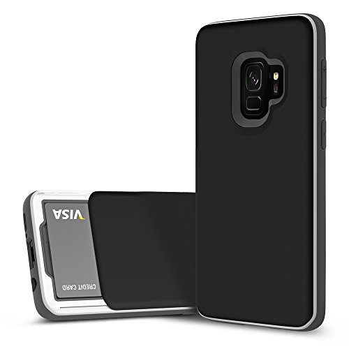 Galaxy S9 Case, DesignSkin [Slider] Sliding Card Holder Slot Store 2 Cards 3-Layer Cushion Bumper Protection Shock Absorption Shockproof Extreme Heavy Duty Wallet Case Galaxy S9 (Black)