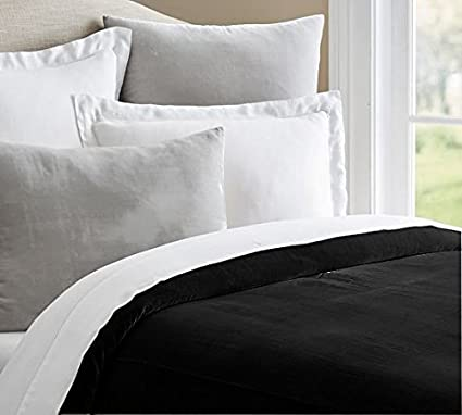 d31f616cab02 400 Thread Count 100% White Cotton Duvet Cover with Silky Soft Velvet  Front, Durable