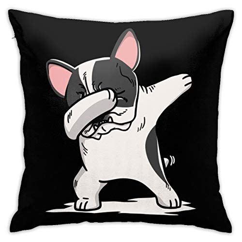 BaPaLa Funny Dabbing Pied French Bulldog Dog Personalized Pillow Cases, Decorative Throw Pillow Case Cushion Cover for Car Sofa Home Decorative 18