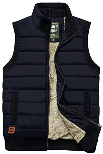 Vcansion Men's Outdoor Casual Stand Collar Thicken Qulited Fleece Jacket Vest Padded Vest Lightweight Down Cotton Vest Coat Black US S