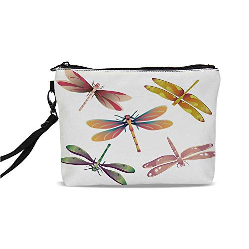 Dragonfly Simple Cosmetic Bag,Five Spiritual Bugs in Modern Abstract Patterned Beauty Elegance Artsy Motif Decorative for Women,9