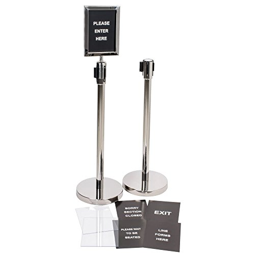 Silver 36'' Crowd Control / Guidance Stanchion Kit including Frame & Sign Set with Clear Covers By TableTop King by TableTop King