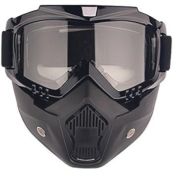 Motorcycle Goggles Mask Detachable, Harley Style Protect Padding Helmet Sunglasses, Road Riding UV Motorbike Glasses (Transparent Lens)