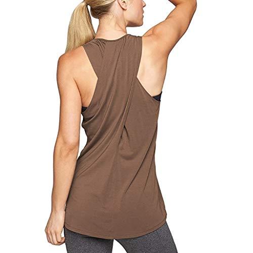 Yoga Tops for Women, Cross Back Training Gym Waistcoat Blouses Sleeveless Tank Top Raceback Running Jogger Sport Vest Brown