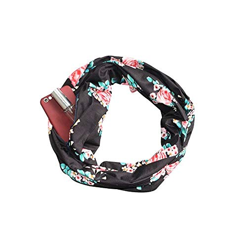 Price comparison product image Scarves for Women - Lightweight Print Blanket Infinity Scarf Wrap with Hidden Zipper Pocket, Best Travel Scarfs (Black, Free Size : 11.8x70.8 inch)