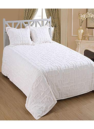 Saral Home Fashions Shapes Design Chenille Bedspread Two Sham, Twin, White (Bedspread-108x78 inches, Sham-26x20+2 inches) (White Bedspreads Chenille)