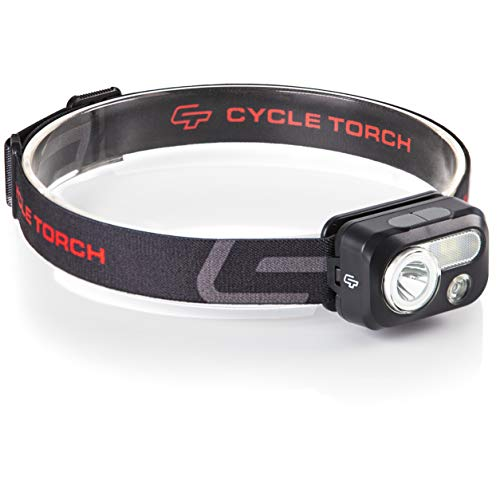 Cycle Torch Headlamp - 230 Lumen, 3 x AAA Batteries Operated Head Lamp, Bright White Cree Led + Red Light, Perfect for Runners, Lightweight, Waterproof, Adjustable Headband, Batteries Included (Black) ()