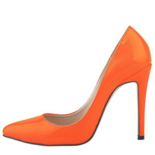 Womens Spiss Tå Patent Skinn Stiletto Hæl Bryllupsfesten Kjole Pumpe Oransje