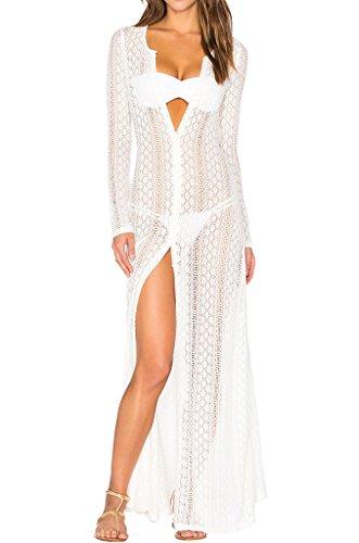 Ayliss Women's Lace Long Kimono Cardigan Maxi Bikini Swimsuit Cover Up,White