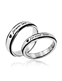 "3Aries Fashion Black Edges Silver Titanium Stainless Steel ""Forever Love"" Women Men Wedding Lover Couple Ring Size 5 6 7 8 9 10"