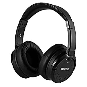 HOWHOYU A3 Active Noise Cancelling Wireless Headphones with Microphone, HiFi Deep Bass Over-ear Stereo Headphones for TVs, Airplane, iPhone, Andriod, Only ANC 50 Hours --Black