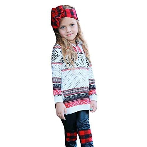 Forthery Baby Sweatshirt, Christmas Girl Boy Deer Printed Stripe Pullover Hoodie Outwear (12-18Months/90CM, Multicolor) ()