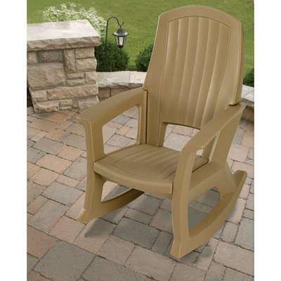 Taupe Outdoor Rocking Chair – 600-Lb. Capacity