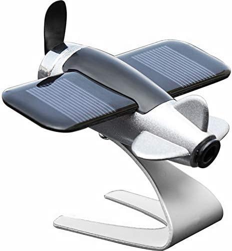 車の装飾、太陽エネルギーパーソナリティ車の飾り回転航空機、ダッシュボードモデルアニメカーアクセサリー,黒