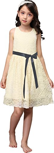 Shop Ginger Wedding Ivory Flower Girl Dress Lace Bow Sash Children Communion D6 (1T, Black Ribbon) -