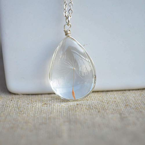 Glass Silver 925 Necklace - Dandelion Seed Wish Real Flower Glass Water Drop 925 Sterling Silver Chain Necklace