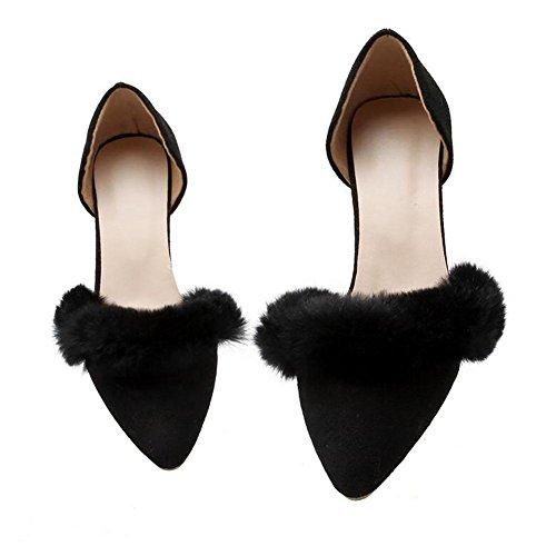 Matte européenne cuir Pointu faible talon sandales femme en peluche Décoration , black , 41
