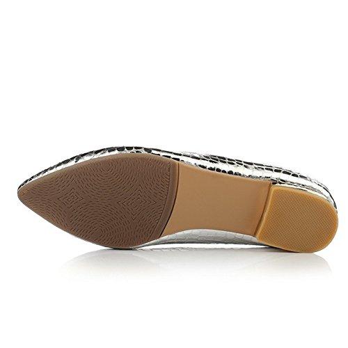 Cerrada Plateado Punta Mujer Zapatos nbsp;de En Puntera Puntera Bajo nbsp;Tacón Tacón Pu AllhqFashion qpO7TXq