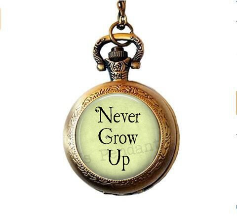 (Never Grow up - Tinkerbell Charm -Pendant - Pocket Watch Necklace - Neverland Jewellery)