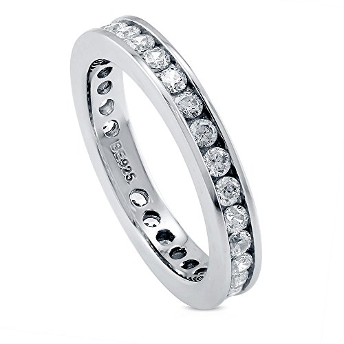 BERRICLE Rhodium Plated Sterling Silver Channel Set Cubic Zirconia CZ Eternity Band Ring Size 6 ()