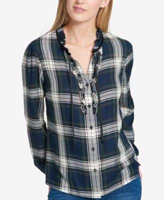 Tommy Hilfiger Women's Ruffled Plaid Blouse (L, Multi) ()