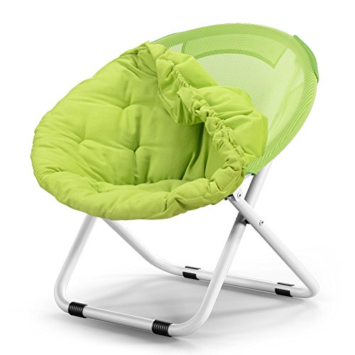 Washable folding chair / adult moon chair / sun chair / lazy chair / sun lounger / folding chair / round chair / sofa chair / solid color Home folding chair / lazy couch / ( Color : Green ) by Folding Chair