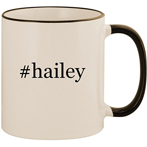 (#hailey - 11oz Ceramic Colored Handle & Rim Coffee Mug Cup, Black)
