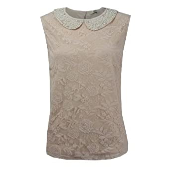 Ladies Nude Cream Pearl Vintage Lace BLouse Peter-Pan Collar Top ...