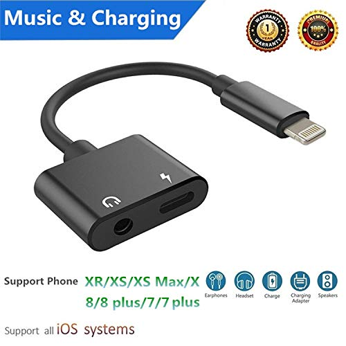 ebasy Lighting to 3.5mm Headphone Jack aux Cable Adapter, 2 in 1 Adapter Compatible with Phone 7/7 Plus / 8/8 Plus/X/XS/XR/XS Max, Audio and Charge Adapter (Support iOS 11, iOS12)-Black